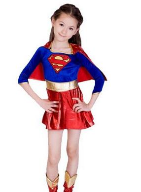 Free shipping 95-125cm girl super woman batman Halloween cosplay performance clothing+mask+boot Kid super hero