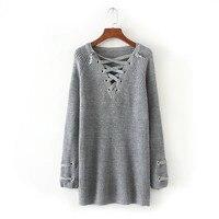 2017 Autumn Spring Sweater Shirt Women Long Style Pullover Fashion Sweater Women Knitwear Chest Criss Cross