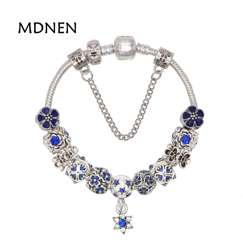 MDNEN High Quality Noble Pretty Silver plated Blue Zircon Star Pendant Charm Pandora Bracelet For Women Fashion Gift BYBR039