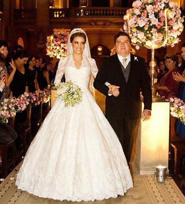 100% High Quality Real Photos Long sleeves Wedding Dress vestidos de noiva 2015 NS887