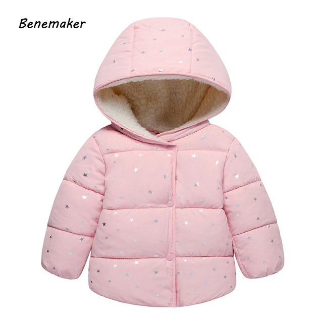 70e410790fdd6 Benemaker Children Stars Winter Coats For Girl Boy Clothing Warm Cotton-padded  Jackets Overalls Hooded Baby Kids Outerwear JH047