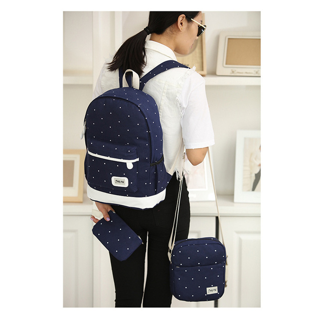 3 Sets canvas backpack women dot school bag for teenagers girls high quality female backpacks Preppy Style bags 1