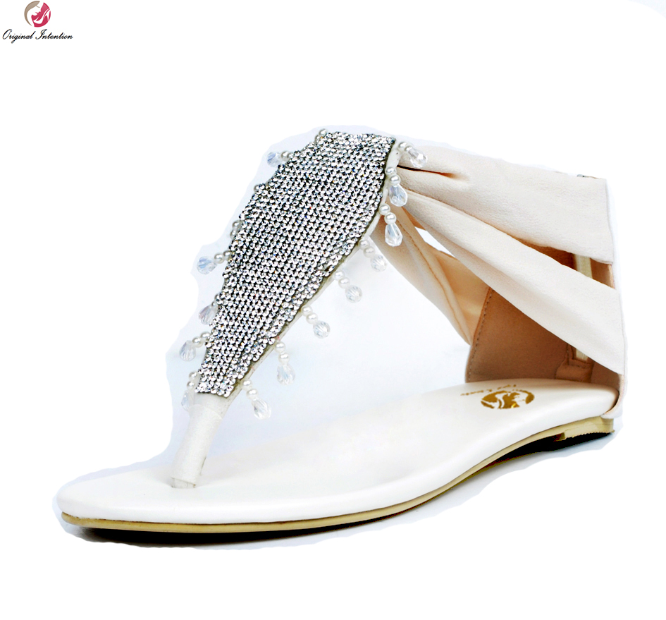 Original Intention Elegant Women Sandals Popular Rhinestone Open Toe Flat With Heels Sandals Beige Shoes Woman Plus US Size 4-15 aidocrystal elegant peep toe shoes with detachable heels colorful rhinestone evening shoes with matching bags