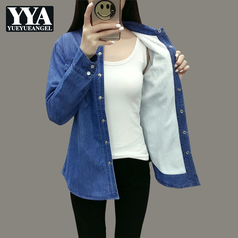 2019 hiver fourrure doublure chaud femmes Blouse à manches longues Denim chemises col de revers coréen femme Jeans vêtements hauts grande taille S-3XL