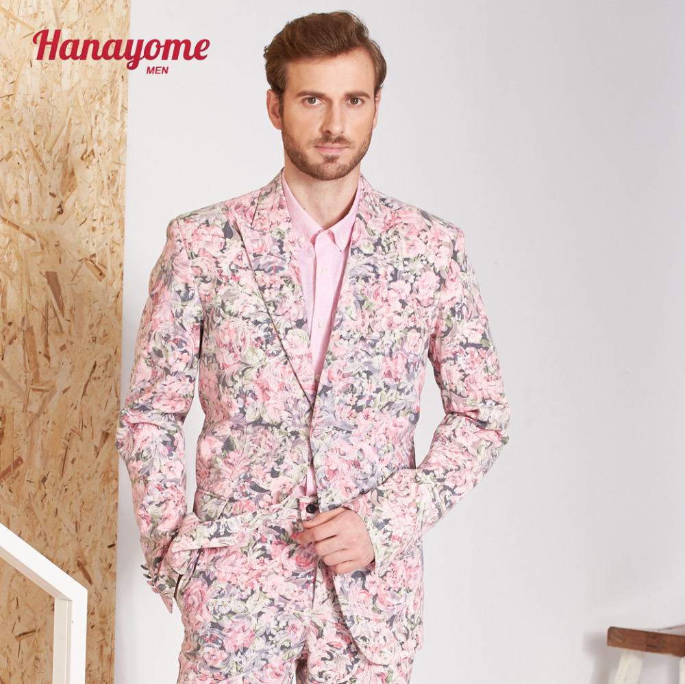 Hanayome Fashion Suits Men Slim Fit 2 Pieces Designer Pink Floral Wedding Dress Party For Men Blazer & Trousers SI101 Customize