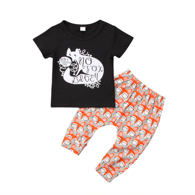 d04898301365 2pcs Baby Boy 2018 T shirt Fox Short Sleeves Black Tops+Pants ...