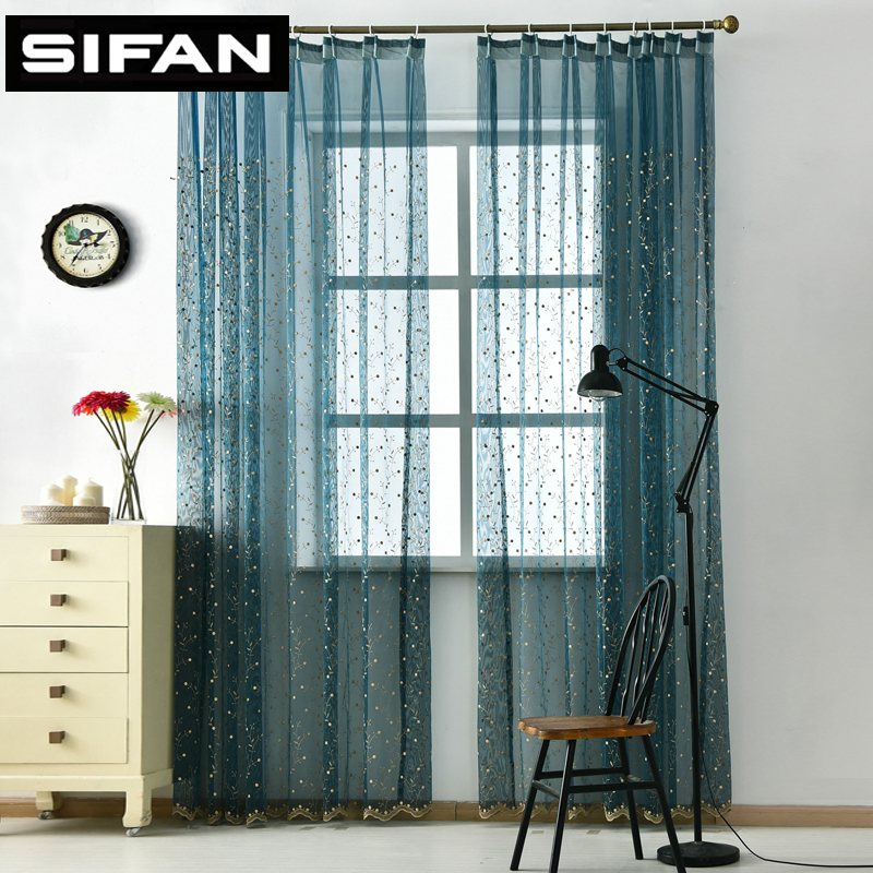 new cherry tree 3d embroidered window sheer curtains for living room the bedroom kitchen. Black Bedroom Furniture Sets. Home Design Ideas