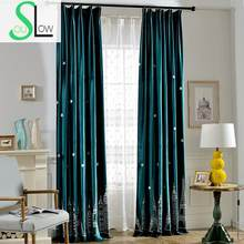 Slow Soul Dark Blue Green Night Tower Shade Cloth Elegant Living Room Bedroom Curtains French Window For Kitchen Tulle Curtain(China)