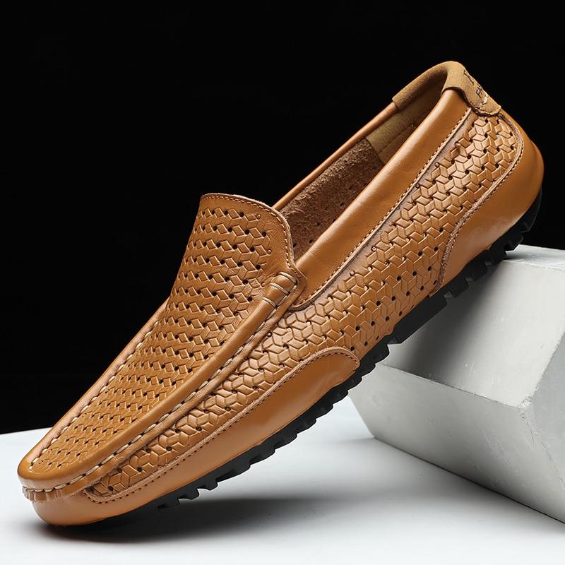 HTB1J1ERMVzqK1RjSZFvq6AB7VXaT Summer Men Shoes Casual Luxury Brand Genuine Leather Mens Loafers Moccasins Italian Breathable Slip on Boat Shoes Black JKPUDUN
