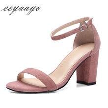 купить 2018 new Genuine leather women sandals sheepskin buckle strap classic elegant sweet ladies high heels pink black shoes women по цене 2319.76 рублей
