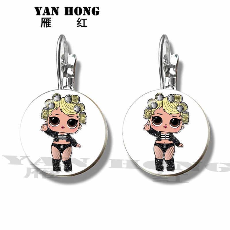 Yanhong เครื่องประดับ Doll16mm แก้วโดมต่างหู 1 คู่ภาพการ์ตูนสาวต่างหูของขวัญเครื่องประดับเด็ก Action แผนที่