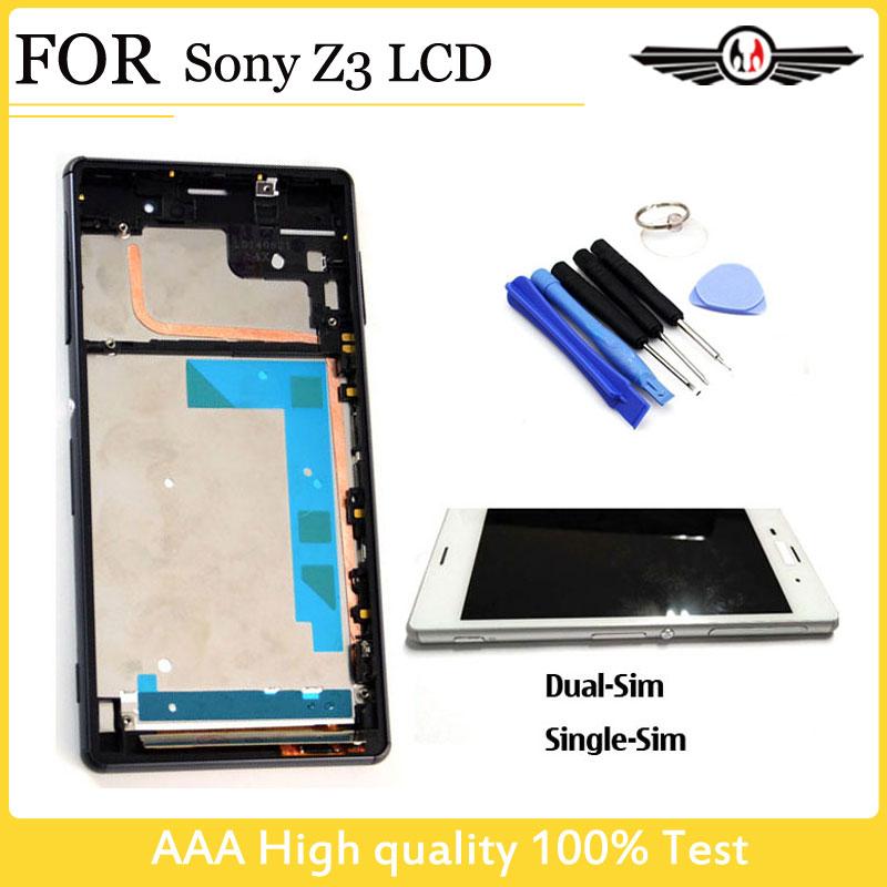 Prix pour Pour Sony Z3 affichage Écran Tactile Digitizer LCD pour Sony Xperia Z3 D6603 D6653 D6633 Assemblée Brown Cadre + Outils