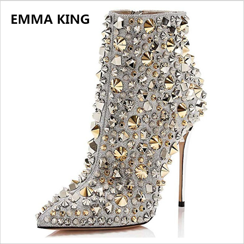 EMMA KING Hot Bling Bling Rivets Studded Women Ankle Boots High Thin Heel Pointed Toe Winter Booties Wedding Party Shoes Women