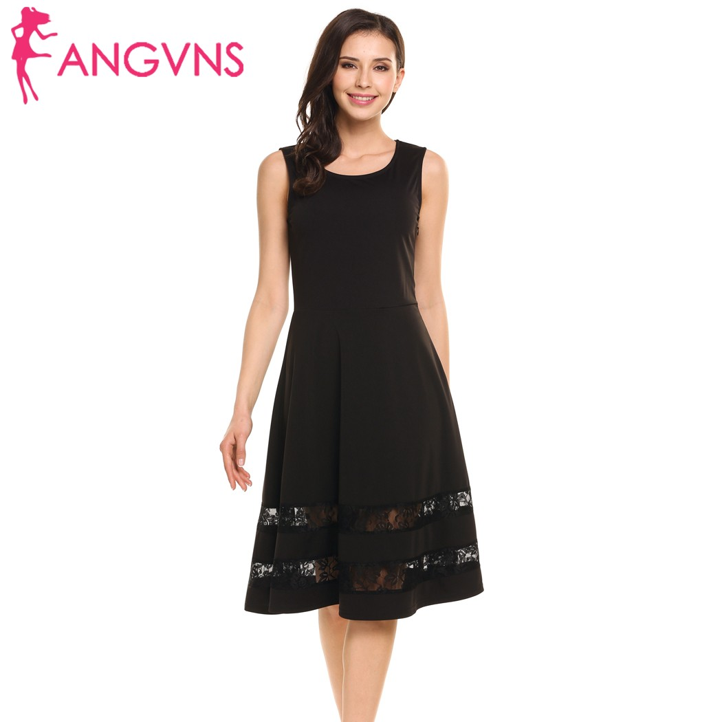 11a0aacbe806 ANGVNS Sleeveless Lace Fit and Flare Casual A-Line High Waist Mid-Calf Dress