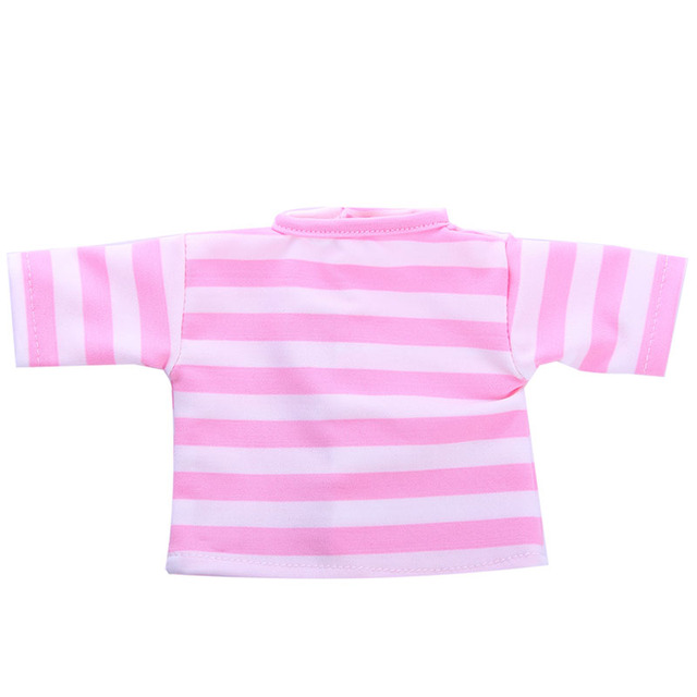 Solid color striped T-shirt for 43cm Baby Born zapf doll ,18 inch American girl doll ,doll clothes