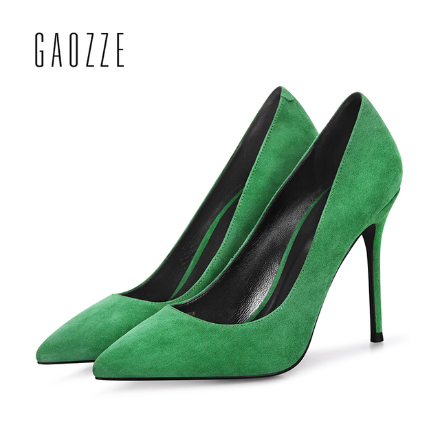 GAOZZE Fashion Fruit Green Sheep Suede Leather Pointed Toe Sexy Stiletto High Heels Pump Shoes Women Solid 10CM Party Shoes New