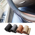 universal DIY Car Steering Wheel Cover With Needles and Thread Artificial leather Gray /Black /beige car covers styling diy