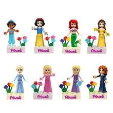 8pcs Fairy Tale Anna Elsa Princess Girl Friends Model Building Doll Minifigures Bricks Blocks Toy Gifts with legoe FW009