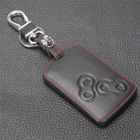 remote key Stylish Genuine Leather 4 Buttons Car Remote Key Cover Case for Renault  Koleos (5)