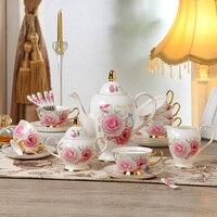 Благородный костяного фарфора Роза т набор фарфоровая чайная чашка набор керамический горшок кувшин банка чайный горшок Блюдце Посуда для