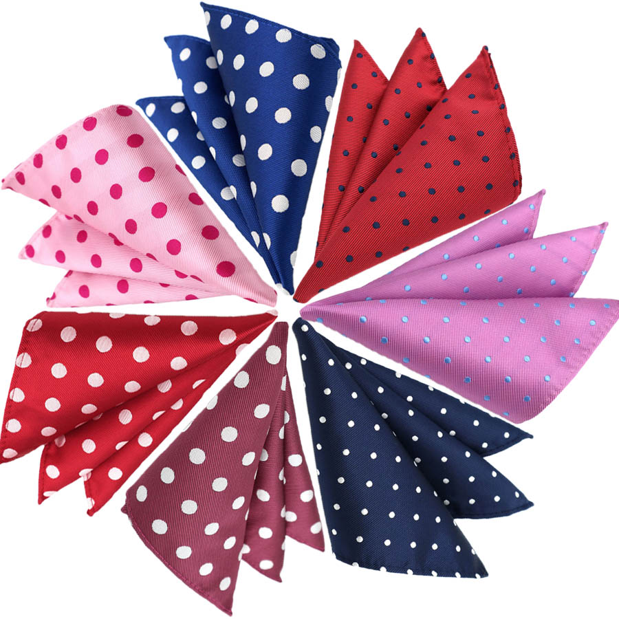 Mens Pocket Square Fashion 25CM Handkerchief Polka Dot Hanky Men Suit Chest Towel Accessories For Business Wedding Party Gift
