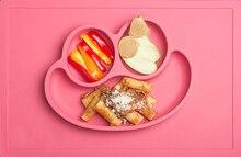 Silikon Fun Tischset & Platte/Tray-Selbst Saug Silikon Baby Platte-Ein Stück Lächelndes Matte S größe 30,5*20,5*2,7 Cm