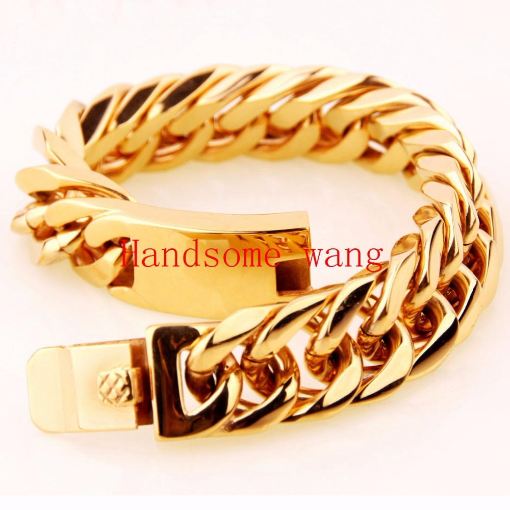 15/17mm High Quality Gold Cuban Link Chain Bracelet 316L Stainless Steel For Male Boy Cuff Bangle Jewelry Huge Heavy 95/122g