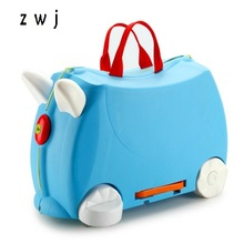 Kids scooter suitcase PP motorcycle shape trolley luggage bag for 2-12 years old children