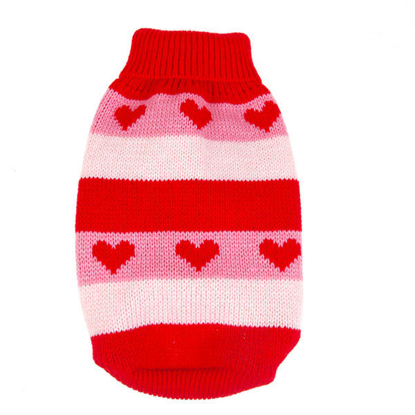 Winter Dog Clothes Sweate Christmas BEST Gift New Pet Stripes Love Heart Pattern Warm Sweater Knit Coat Puppy Dot Clothes