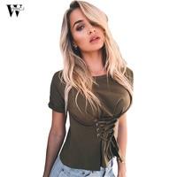 WYHHCJ Summer Cotton T Shirt Women Fashion Tshirt Soild Lace Up 4 Colors T Shirt Loose