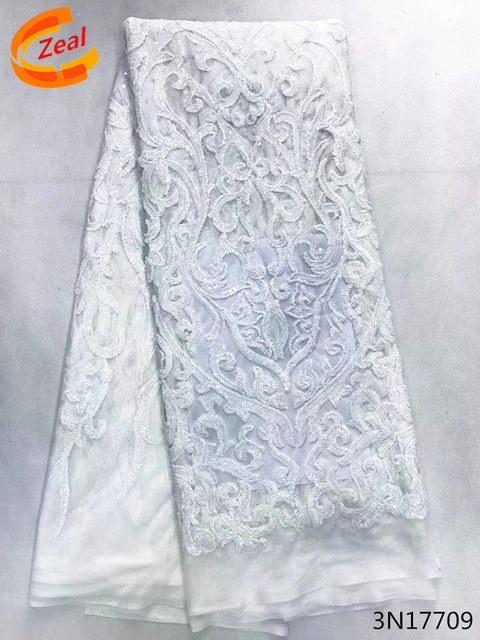Zeal Pure white sequins french lace,African net sequins lace fabric Nigeria party high quality african sequins lace fabric 3N177