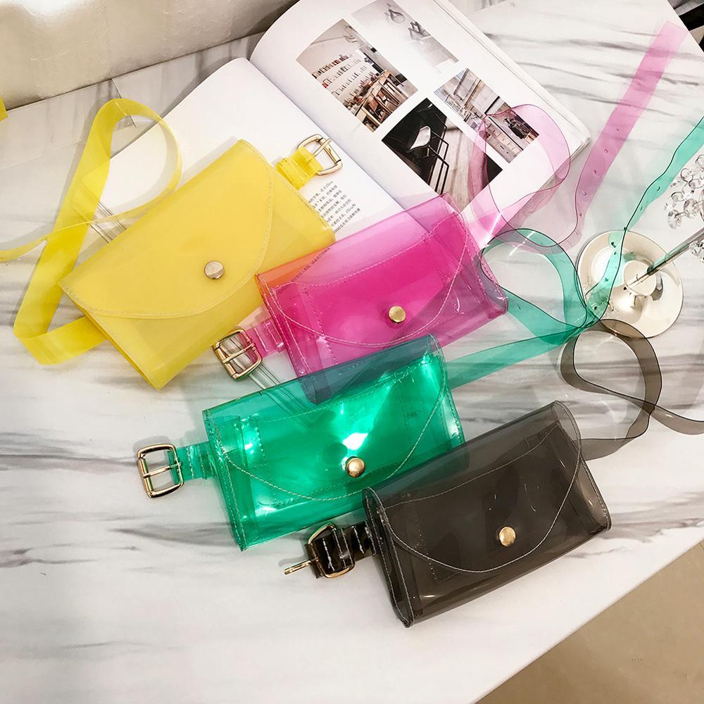 Clear Fashion Beach Belt Fanny Packs Female Summer New 2019 PVC Waist Bags Women Ladies Girls Transparent Jelly Chest Handbags