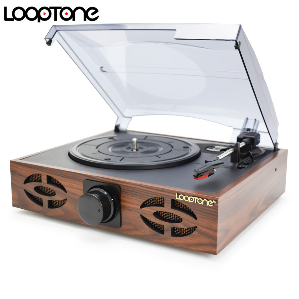 LoopTone 33/45/78 RPM Vintage Turntable Players For Vinyl LP Graba el Phono Player 2 Altavoces incorporados Salida de línea AC110 ~ 130 & 220 ~ 240V