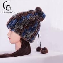 Best Selling Women Hat For Neck Rex Rabbit Fur Knitted High Fashion Real Fur Hat Scarf Women Warm Winter Natural Rabbit Fur Cap
