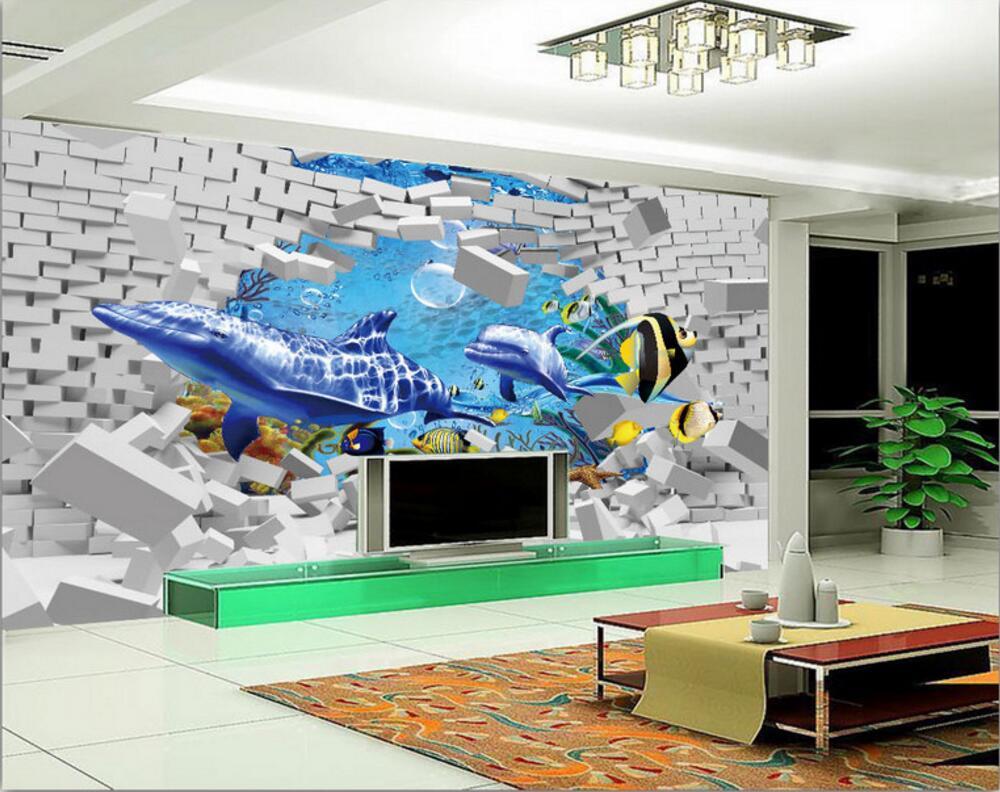 popular painting mural brick wall buy cheap painting mural brick custom mural 3d wallpaper sea world whale dolphin brick wall decor painting 3d wall murals wallpaper