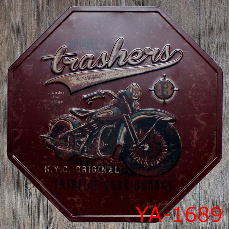 Motorcycle N.Y.C. GAIGING AL! Vintage Tin Teken Retro Decorative Octagonal Metal Painting Repair Brand Arrow Signs Iron Plaque