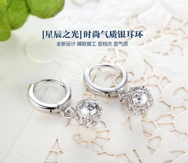 925 Sterling-silver-jewelry Crystal Ball AAA CZ Z Stud Earrings For Women Earings Sterling Silver Jewelry VES6085 3