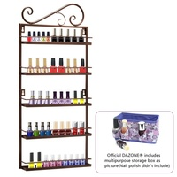 New Brown Nail Polish Wall Mount Storage Rack Stand Organizer Display Metal Up To 50 Bottles