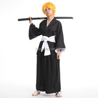 Japanese Anime BLEACH Death Cosplay Costume Shinigami Kimono Specifications Black Fitted Cosplay unisex Top + Pants