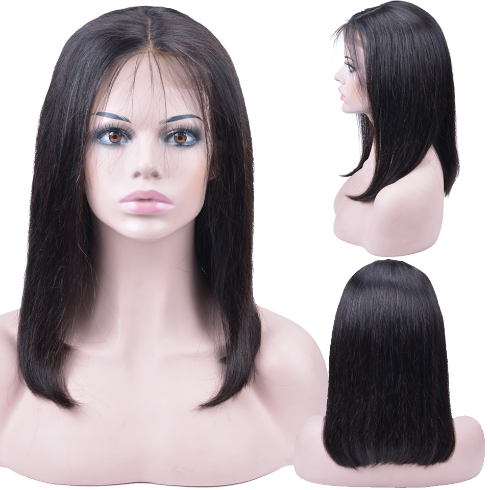 Lace Front Human Hair Bob Wigs For Black Women Brazilian Straight Lace Front Wig 13x4 Pre