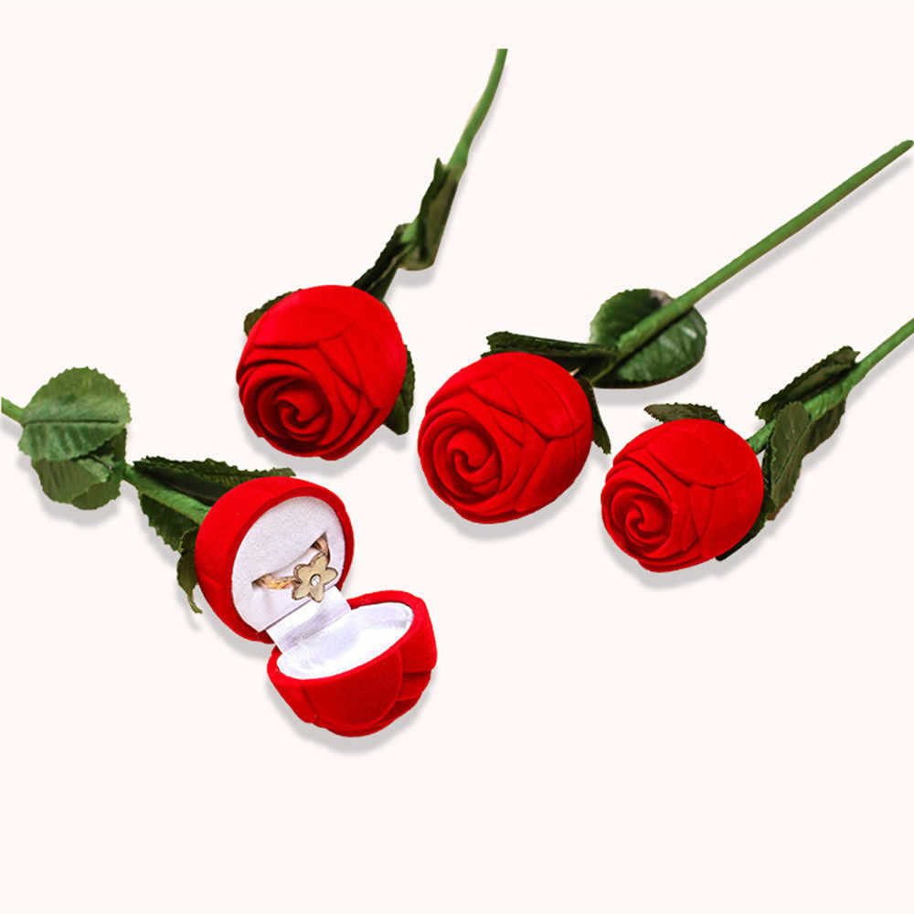 3D Romantica Del Fiore della Rosa Proporre Anello Contenitore di Monili di Caso di Immagazzinaggio Orecchino Da Sposa di Fidanzamento Organizzatore Ornamenti Titolare Trinket Regalo