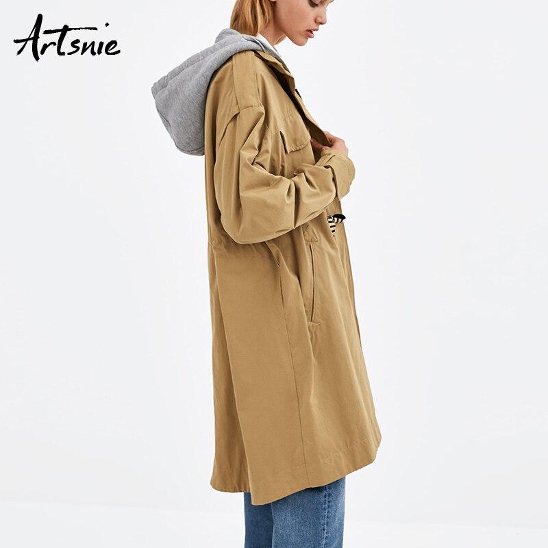 Feminino Hiver Casual Manteaux Longue 2018 Automne Tranchée Double Kaki Femme Manteau À Poches Femmes Khaki Capuchon Streetwear Artsnie qwaPvxp