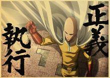 Japanses anime One Punch homme Saitama Genos Vintage papier Poster peinture murale décoration de la maison 42X30 CM 30X21 CM
