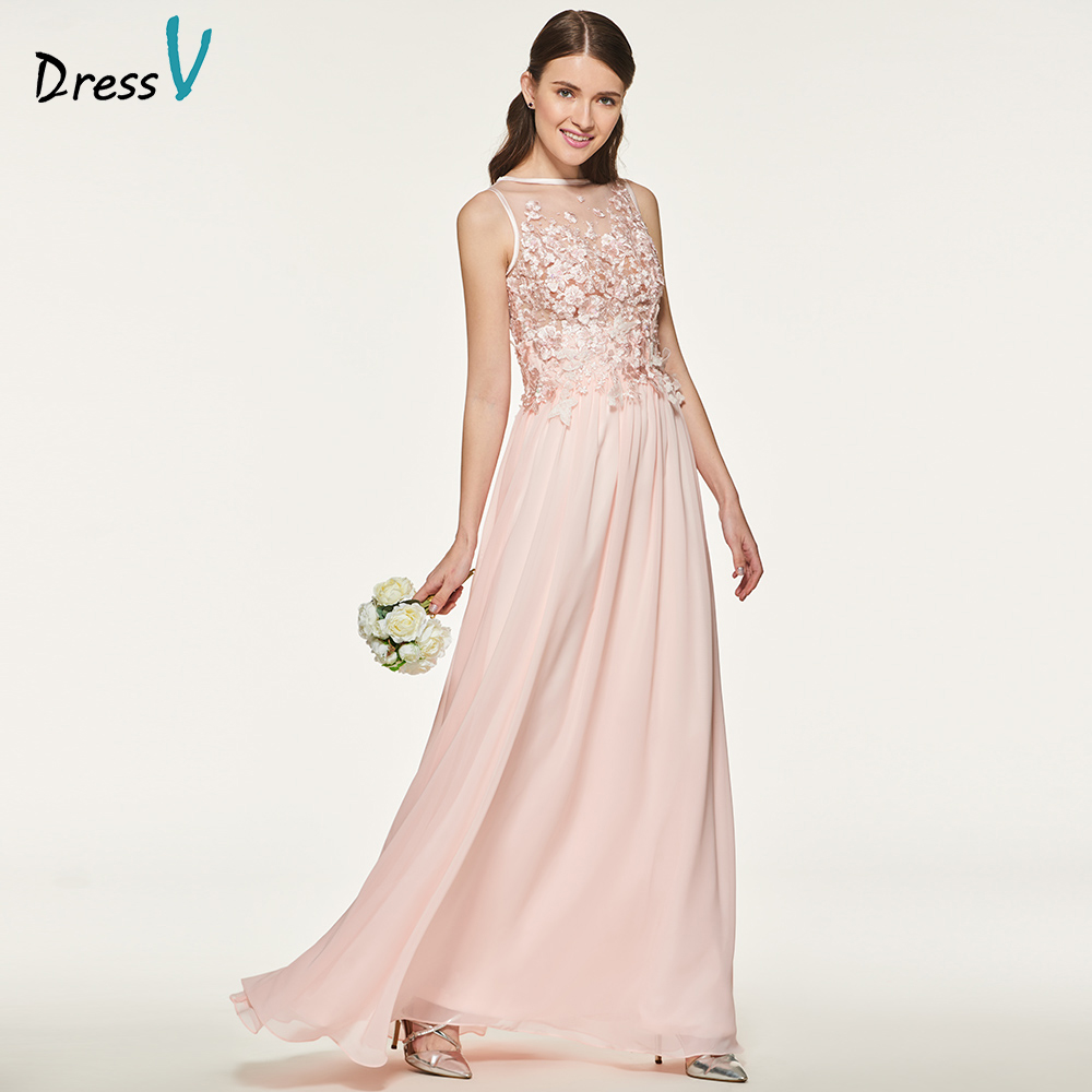 Dressv appliques scoop neck a line button bridesmaid dress sleeveless floor length wedding party women lace bridesmaid dresses