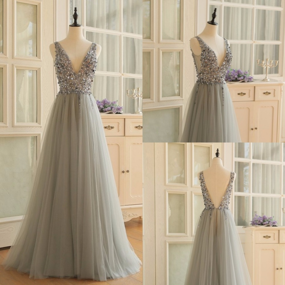 New Arrival Long Dress Tulle Gray Beaded Vestidos Para Festa Sexy Slit Dresses Sleeveless Gown Deep V-in Dresses from Women's Clothing    2