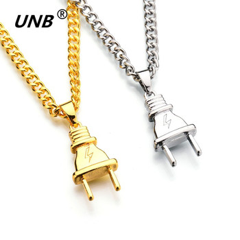 UNB 2017 New Gold-color Electrical Plug Shape Pendants Necklaces Men Women Hip Hop Charm Chains Iced Out Bling Jewelry Gifts