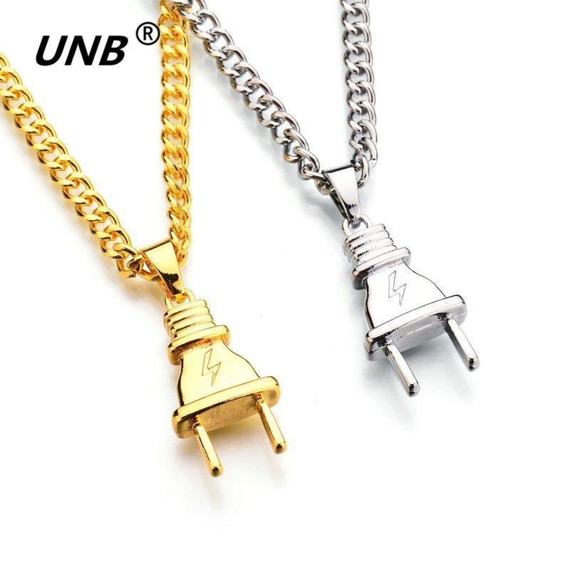 Unb 2017 New Gold Color Electrical Plug Shape Pendants