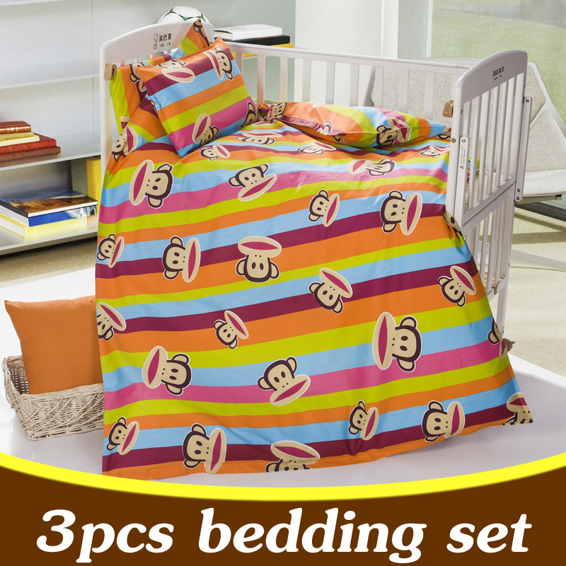 3PCS Baby Crib Bedding Set Animal Child Kids Cot Bed Quilt Cover Pillow
