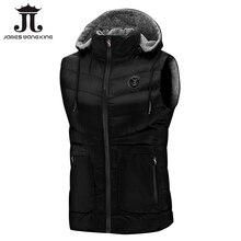 2018 新 1806 ノースリーブパーカーベスト男性の冬のファッション暖かい黒ノースリーブジャケットスリムチョッキ男性のためにウインドブレーカーコート