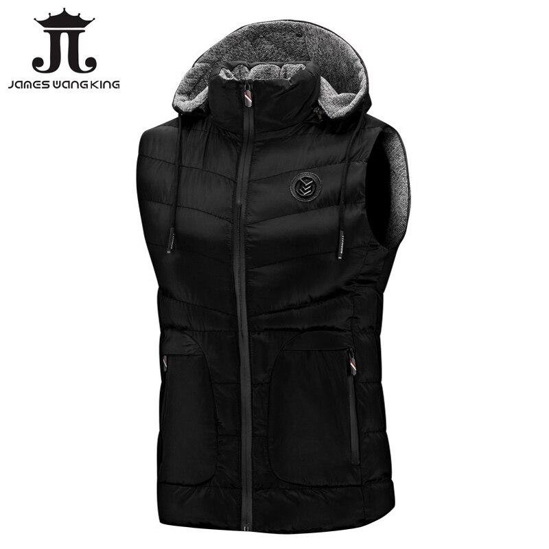 Nouveau 2018 sweat à capuche sans manches gilet hommes hiver mode chaud noir sans manches veste Slim gilet pour hommes coupe-vent manteaux 1806